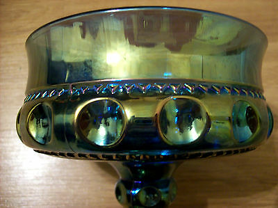 VINTAGE Kings Crown Compote Thumbprint BLUE CARNIVAL  Candy Dish Indiana GLASS