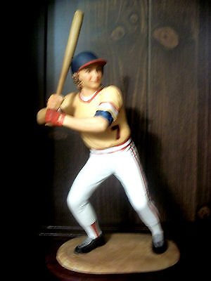"""BASEBALL PLAYER  Andrea By Sadek Porcelain Figurine  9"""" Tall with wooden base"""