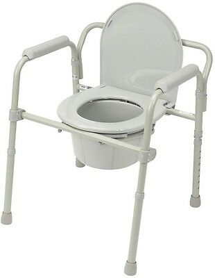 Drive Medical Folding Steel Bedside Commode Chamber Pot Portable Toilet Seat