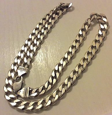 Superb Men's Very Heavy Vintage Solid Silver Curb Chain - 72.5 Grams / 20 ""