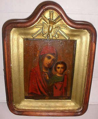 Antique 1800`s 19th Holy Virgin Mary Mother of Kazan & baby Jesus Russian icon