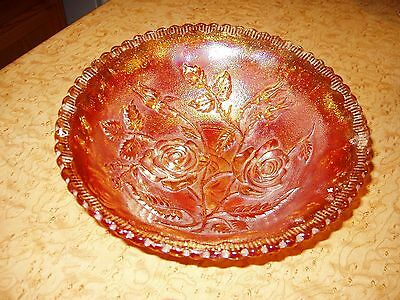 """Imperial Carnival Glass Bowl """"Open Rose"""" Marigold Iridescent 8 1/2"""" x 3"""""""