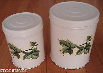 2 Vintage Hand Painted Metal Kitchen Canisters Set with Ivy Leaves Decals