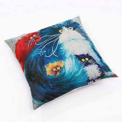 Cartoon Cat Throw Pillow Bright Colorful #7 ANIMAL RESCUE DONATION