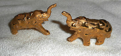 "2 Elephant Figurines Gold Tone Metal Textured Nugget Like finish 2"" x 2 1/3"""