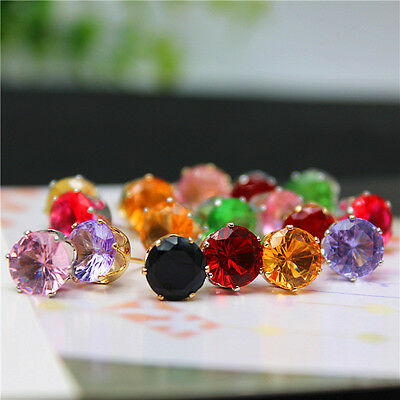 Rose Gold Coloured 8mm Crystal CZ Zircona Stud Earrings choice of 10 colours