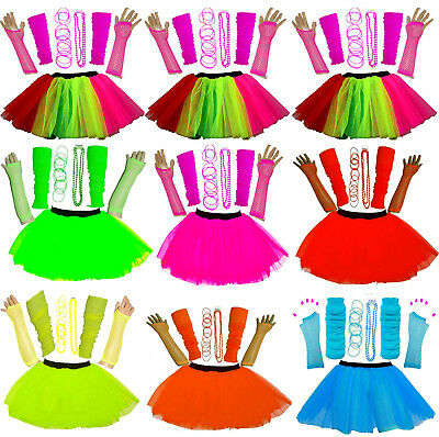 New Girl's Neon Uv Tutu Gloves Leg Warmers Beads Bangles Fancy Dress Hen Party