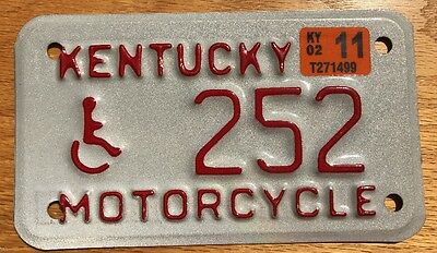 2011 Kentucky Motorcycle License Plate Handicapped Wheelchair