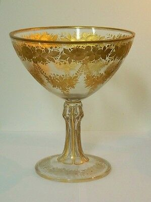Moser Gold Intaglio Bohemian Glass Footed Centerpiece Bowl Cut 11 3/4""