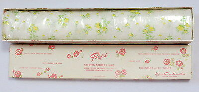 Vintage 1950s Drawer Liner Karen Carson Scented Polyfab Yellow floral flowers