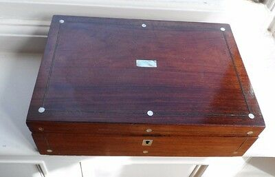 Victorian Wooden & Mother Of Pearl Writing Box c-1880's No Reserve