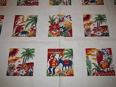 VINTAGE Mid Century Tablecloth - by Royal Art - Style Chico - Palm Trees  Donkey
