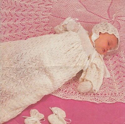 Vintage Baby Knitting Pattern Copy Christening Gown Bonnet Shawl lacey design