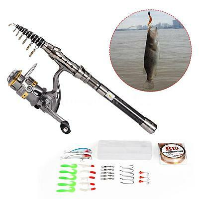 2.4M Fishing Rod and Spinning Reel Combo Portable Telescopic Fishing Rod & Reel