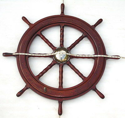 Rare Huge Vintage 41 Inch Ships 8 Spoke Steering Wheel With Handle & Brass Cap