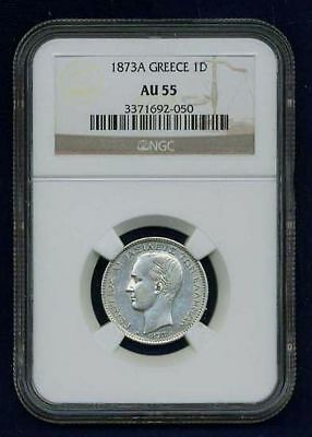Greece Kingdom  1873-A  1 Drachma Silver Coin,  Certified Ngc Au55