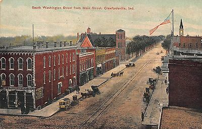 IN - 1910's RARE! Washington Street from Main in Crawfordsville, Indiana
