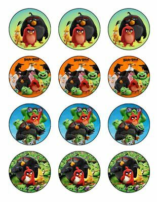 12 ANGRY BIRDS Edible Icing Image Birthday Party Cupcake Decoration Cake Toppers