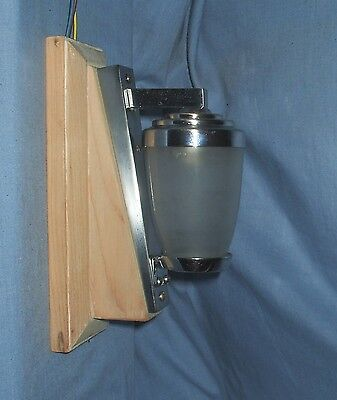 Fabulous Art Deco Chrome Wall light on Wooden Plinth