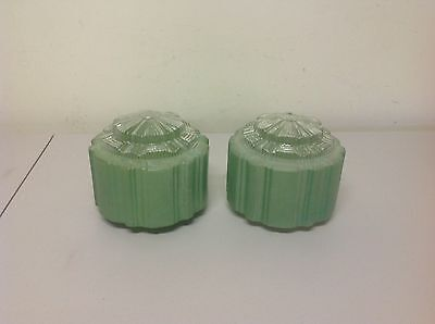 2 Art Deco Skyskraper Light Fittings Clear Diffuse Green