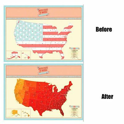 """USA United States Map Poster America Scratch Off Map Home Wall Decor Map 33""""x23"""""""