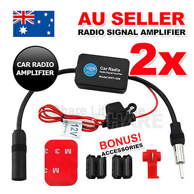2x Auto Car Antenna Radio Signal AMP Amplifier Booster Strengthen ANT-208 12V