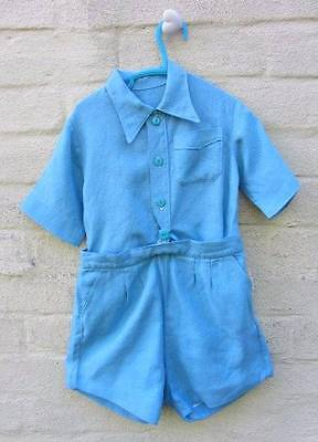 boys vintage Buster suit matching blue top and shorts 1940's classic age 3