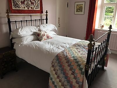 Antique Victorian Cast Iron Double Bed