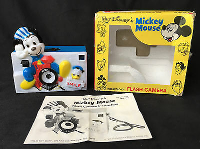 Walt Disney Helm Toy Vintage Mickey Mouse On Train Plastic Camera Box Manual