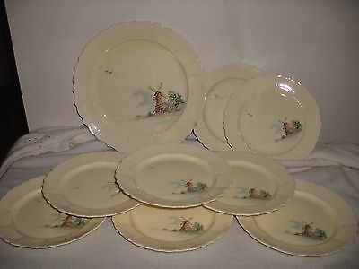 Lot Of W.s.george Canary Tone Rare Windmill Pattern Assorted Plates
