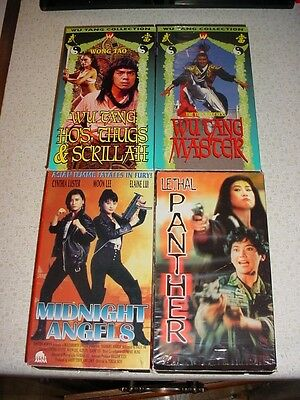 4 MARTIAL ARTS Vhs Movies Wu Tang Taoist Midnight Angels Lethal Panthers