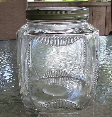 Vtg Old Large GLASS Country Store COUNTER Display Storage Apothecary JAR w Lid