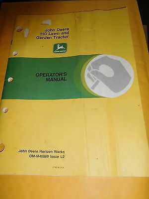 John Deere 110 Lawn and Garden Tractor Operators Manual OM-M46869 Issue L2