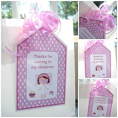 5 x GIRLS SLEEPOVER personalised Party Bag tags GIFT TAGS PARTY BAG LABELS THANK