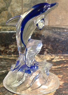 Christal D'arques Crystal Blue Glass Dolphin In Waves Figurine