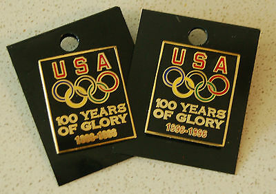 1996 USA Olympic Team 100 Years, Pair of Pins, Original Backs