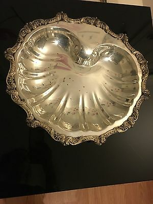 Epca Poole Old English SilverPlated Clam Shell Serving Bowl Dish Footed Platter