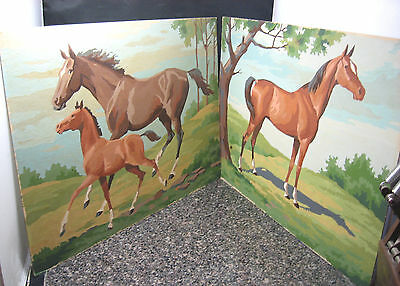 """2 Vtg Paint by Number Paintings Standing Horse + Running Horse & Pony 12""""x16"""""""