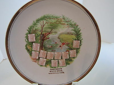 Dresden China advertising calendar plate 1910 children old swimming hole - poem