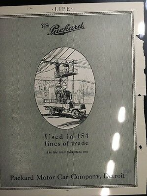 1912 Parkard Utility Truck And Mack Truck On Back Original Ad