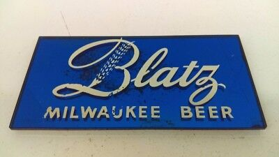 """1940's Blatz Glass Cobalt Blue Mirror Painted Lettered Beer Sign 8"""" x 4"""""""