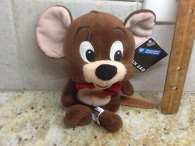 "Jerry stuffed Plush Mouse From Tom & Jerry Cartoon Animal beanie 7"" w/tag"