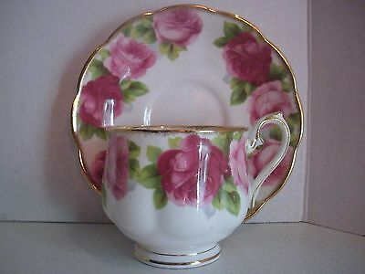 Vintage Cup and Saucer Set Royal Albert Bone China England Old English Rose
