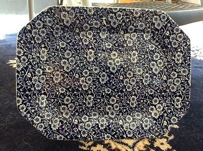 """Staffordshire CALICO BLUE (BURLEIGH STAMP) 13 1/8"""" Oval Serving Platter 693600"""
