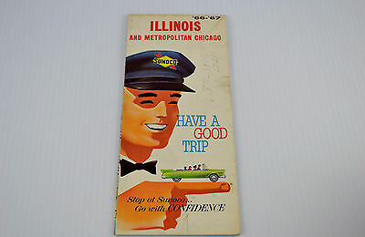 VINTAGE 1966 1967 Sunoco Illinois Gas State Highway Road Map