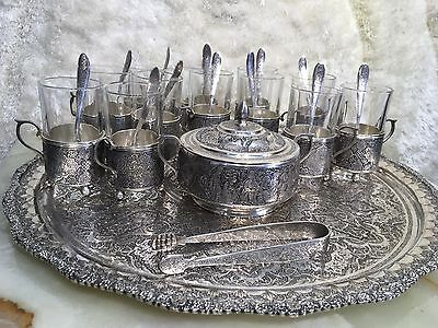 ANTIQUE HAND MADE PERSIAN SOLID SILVER TEA COFFEE SET 27 PIECES W 12 GLASS 2800g