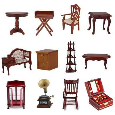 1:12 Wooden Table Chair Cabinet Shelf Dollhouse Miniature Furniture ACCS Decor