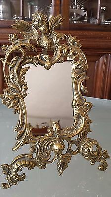 Antique French Bronze Large Family Photo Frame Table Mirror