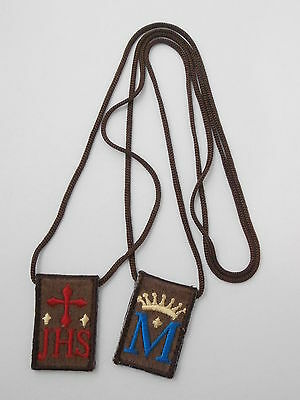 Traditional Brown Scapular Our Lady of Mt Carmel 100% Wool + Book Catholic Gifts