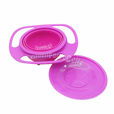 Baby Kid Children Gyro Food Bowl Dishes 360 Rotate Spill-Proof Pink US Stock
